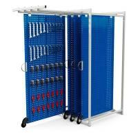 MaxiStore værktøjstavle med 4 perforeret plader blå