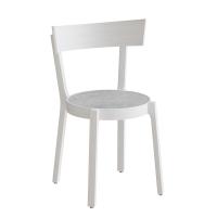 Astrid cafestol i hvidbejdset massiv birk med grå linoleum sæde
