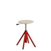 Atlas taburet 430-550mm med gascylinder egelaminat, røde ben