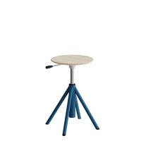 Atlas taburet 430-550mm med gascylinder egelaminat, blå ben