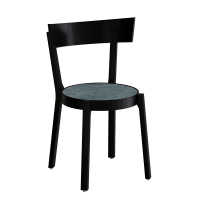 Astrid cafestol i sortbejdset massiv birk med mørkgrå linoleum sæde