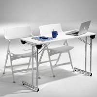 Kongress klapbord 1200x500mm hvid med krom stel