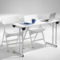 Kongress klapbord 1200x600mm hvid med krom stel