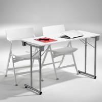 Kongress klapbord 1200x600mm hvid med alu stel
