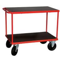 Rullebord med 2 hylder 870x1000x600mm rød