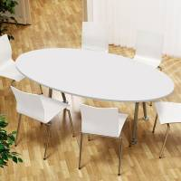 Konferencebord bådeformet 200x120cm hvid laminat