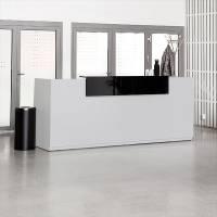 Libra Receptionsskranke med hæve-sænkebord 260 cm lys grå