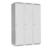 Garderobeskab med cylinderlås 3x400mm grå dør