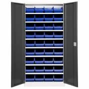 Lagerskab model 1 1980x980x450 grå dør, blå kasser