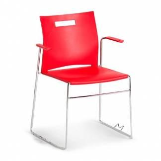 Unite stabelbar plaststol med armlæn rød